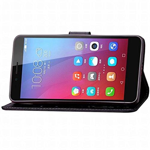 Yiizy Huawei Honor 5X / Honor X5 / GR5 Custodia Cover, Tre Foglia Erba Design Sottile Flip Portafoglio PU Pelle Cuoio Copertura Shell Case Slot Schede Cavalletto Stile Libro Bumper Protettivo Borsa (N