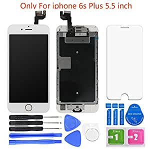 For iPhone 6s Plus Screen Replacement, 5.5'' Full LCD Display Assembly Touch Screen Replacement Digitizer with Front Camera, Home Button, Earpiece Speaker and Repair Tools (White)