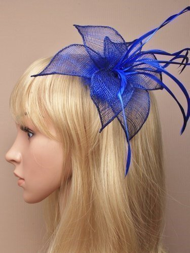 Amazon.com  Hair Fascinator in Royal Blue sinamay pointed petals and  feathers mounted on a clip suitable for weddings 1dde2757a43