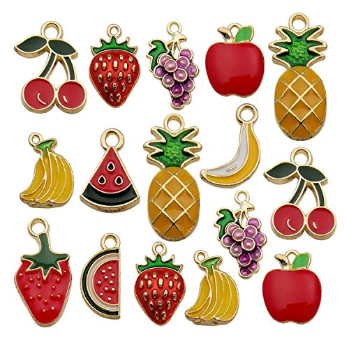 - iloveDIYbeads 30pcs Assorted Gold Plated Enamel Pineapple Strawberry Banana Grape Fruit Charm Pendant for DIY Jewelry Making Necklace Bracelet Earring DIY Jewelry Accessories Charms M299