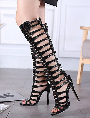 LFNLYX Zapatos de mujer-Tacón Stiletto-Tacones / Plataforma / Punta Abierta-Sandalias-Vestido-Cuero Patentado-Negro Black