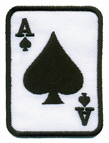 Ace of Spades black suit playing card poker retro casino biker rat pack applique iron-on patch (Playing Card Applique)