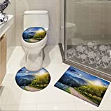 jwchijimwyc Farmland 3 Piece Toilet Cover set Contrasting Day and Night Collage View with Moon Sun Horizon Countryside Hillside pattern Green Blue