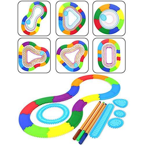 Ipienlee Magic Ruler 33pcs ABS Drawing Toys Set Interlocking Gears Wheels Drawing Accessories Creative Educational Toy for Children (002)