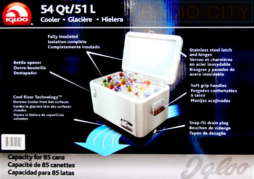 Igloo 54 Qt Cooler with Ultratherm Foam Insulation and Cool Riser Technology. Built-in Bottle Opener and Drain for Melted Ice.
