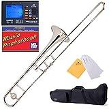 Mendini B-Flat Slide Trombone, Nickel Plated and Tuner, Case, Pocketbook - MTB-N+92D+PB