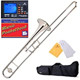 Mendini B-Flat Slide Trombone, Nickel Plated and Tuner, Case, Pocketbook - MTB-N+92D+PB