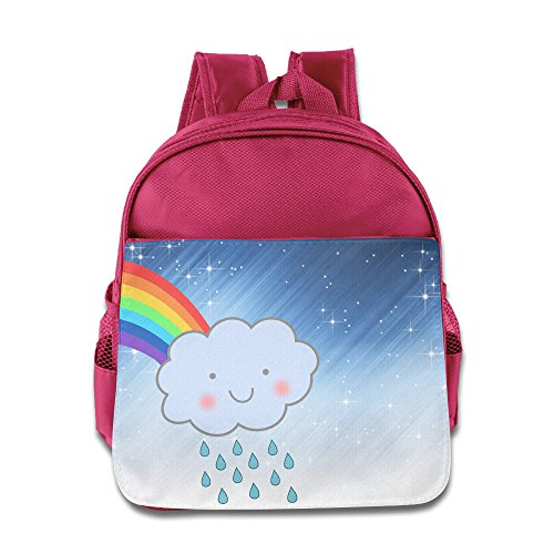 Price comparison product image ELF STORY - Cute Rain Cloud Rainbow Little Kid Baby Boys Girls Toddler School Backpack Pink