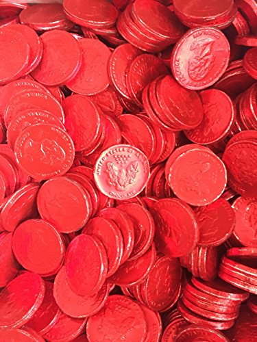Foil Wrapped 5 Pound Box - Solid Gourmet Milk Chocolate Large Red Foil Covered Coins - 5 Pounds Bulk Wholesale