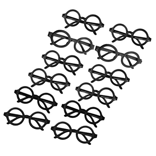Tinksky Glasses Frame Wizard Nerd Round Black Frame Glasses No Lenses Costume Eyewear party favors 12pcs - Costume Eyewear