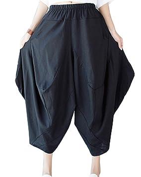 LaoZanA Pantalones Harem Baggy para Mujer Pantalón Ancho Lino Pantalones  Cintura Elástica Talla única  Amazon.es  Deportes y aire libre 64c09c5768e1