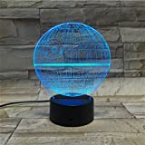 Kyпить LE3D 3D Optical Illusion Desk Lamp/3D Optical Illusion Night Light, 7 Color LED 3D Lamp, Star Wars 3D LED For Kids and Adults, Death Star Light Up на Amazon.com