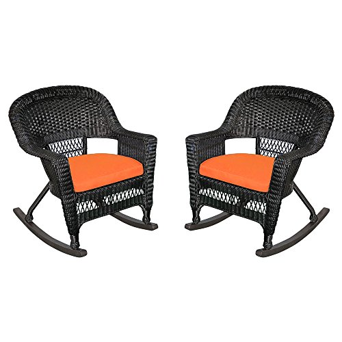 Jeco W00207R-D_2-FS016 Rocker Wicker Chair with Orange Cushion, Set of 2, Black