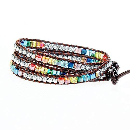 22ebc85a0 YHY Handmade Multicolour 7 Chakra Balancing Crystal Bead with Hematite  Stone Wrap around Leather Bracelet for