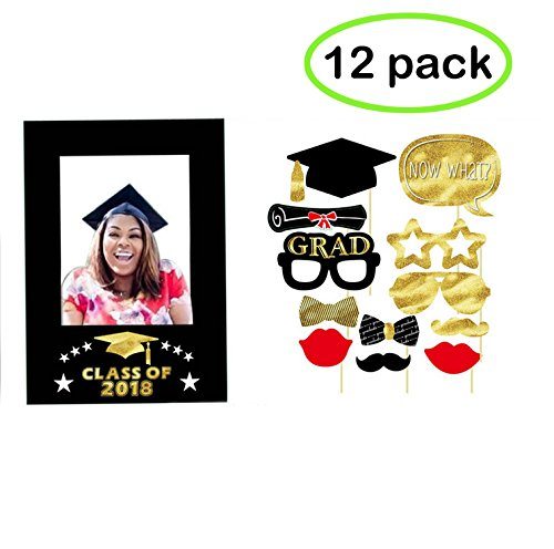 Black Open House Card - 2018 Graduation Photo Booth Props (12 Count),Large Fun Graduation Picture Frame Cutouts, Black and Gold, for Graduation Party Decorations