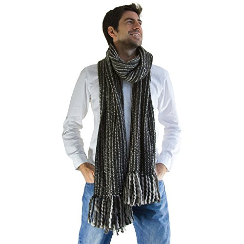 Long Scarf Striped (Tumia LAC - Striped Thick, Extra Long Luxurious Scarf - Handmade and Very Warm - Unisex - Grey)