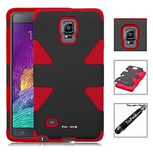 [ Samsung Galaxy Note 4 / N910 ] ToPerk (TM) DYNAMIC Dual Layer Armor Case & Stylus Pen As Bundle Sale - Black/Red