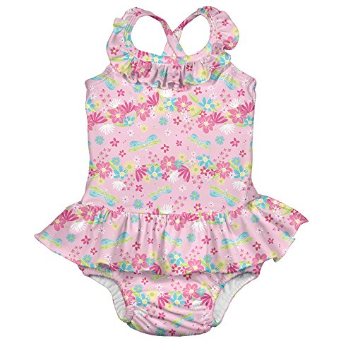 i play. Girls' 1pc Ruffle Swimsuit with Built-in Reusable Absorbent Swim Diaper, Pink Dragonfly Floral, 18mo