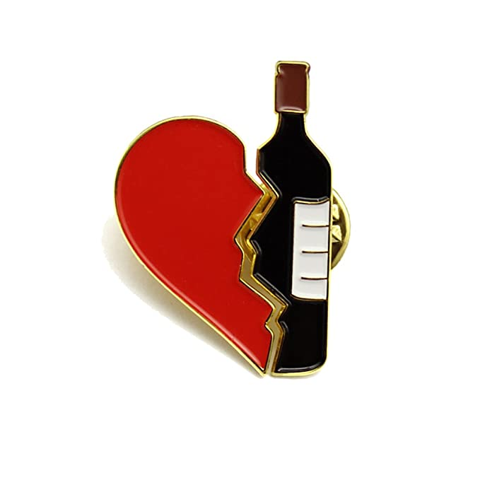 Sunvy Women Girls Brooch Red Heart Wine Enamel Pin for Clothes Bags  Backpacks