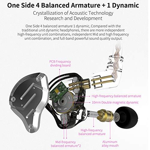 KZ ZS10 Pro 4BA 1DD KZ Headphone Multi Driver HiFi Monitor, KZ in Ear Earphoner IEM with All in One Button (Black with Mic)