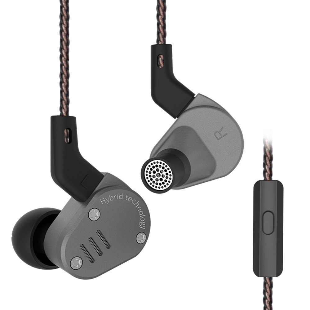 KZ ZSA HiFi Hybrid Driver In Ear Earphones Earbuds with Detachable Cable (Mic, Gray) by KZ