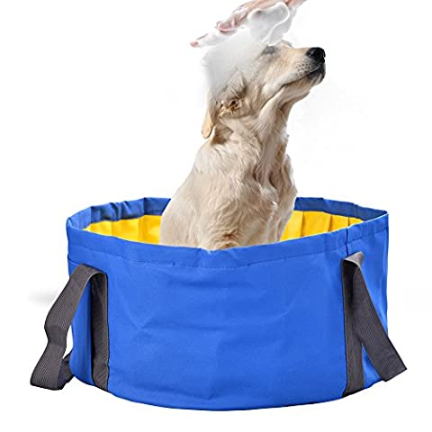 Dog Bathtub, Petacc Foldable Pet Swimming Pool Pet Shower Tub Bathing Tub PVC Water Pond for Small Dogs or (Tub For Small Pets)