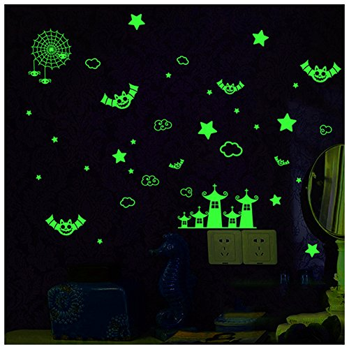 2 Sheets Glow in the Dark Wall Decals Stickers for Windows,Wall or Car Deocration DIY Halloween Party colorful PVC Decorative Bats Stars Wall Decal Sticker, Eve Decor Home (Haunted Houses Ideas)