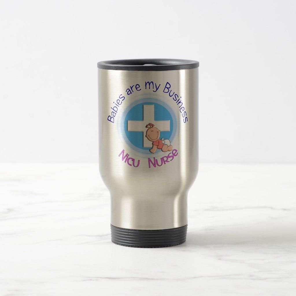 Zazzle Nicu Nurse Travel Mug''Babies Are My Business'', Stainless Steel Travel/Commuter Mug 15 oz