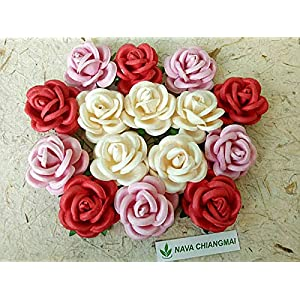 NAVA CHIANGMAI Artificial Mulberry Paper Big Rose Flower for Wedding Floral Arrangements and Home Decoration 40-45 mm.15 pcs. (Pink) 81