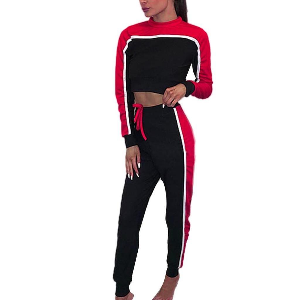 HOMEBABY Women Sweatshirt+Pants Set, Ladies 2Pcs Tracksuit Sweat Suit Solid Long Sleeve Hoodies Casual Blouse T-Shirt Pullover Crop Tops 2 Piece Outfit Sport Lounge Wear Casual Suit
