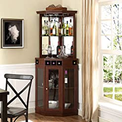 Home Bar Cabinetry Red Barrel Studio Corner Arms Bar with Wine Storage (Mahogany) home bar cabinetry