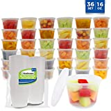 Freshware Food Storage Containers [36 Pack] 16 oz Plastic Containers with Lids, Deli, Slime, Soup, Meal Prep Containers | BPA Free | Stackable | Leakproof | Microwave/Dishwasher/Freezer Safe