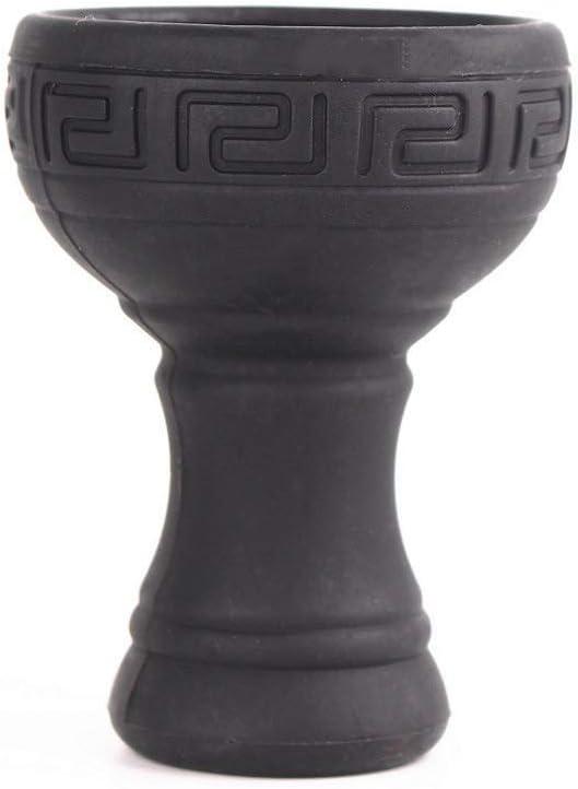 Silicon Hookah Bowl con acero inoxidable Irrompible Sin olor para accesorios Shisha Manguera de carbón Punta de polilla Forma de flor (Negro)
