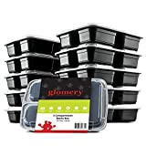 3 Compartment Portion Control Lunch Box and Food Storage Container Set -Black- 10 Pack