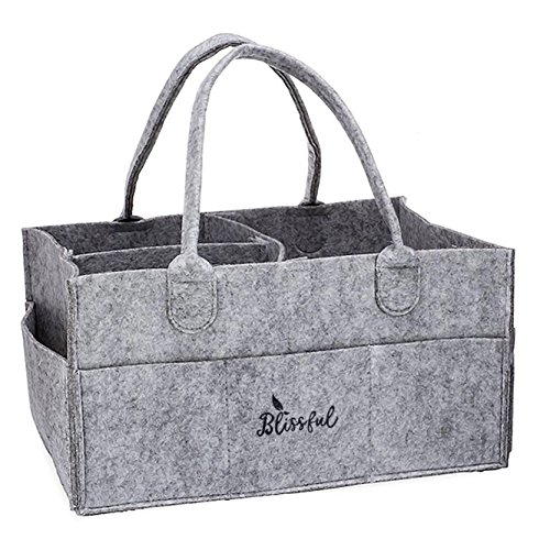 Blissful Diaper Caddy Nursery Storage Bin and Car Organizer for Diapers and Baby Wipes |Diaper Stacker| Diaper holder | Changing Table Organizer | Large pocket And Compartments | Great Registry Shower from Blissful