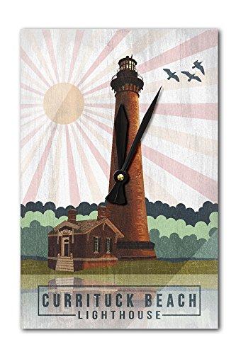 - Lantern Press Outer Banks, North Carolina - Currituck Beach Lighthouse - Geometric Opacity (Acrylic Wall Clock)
