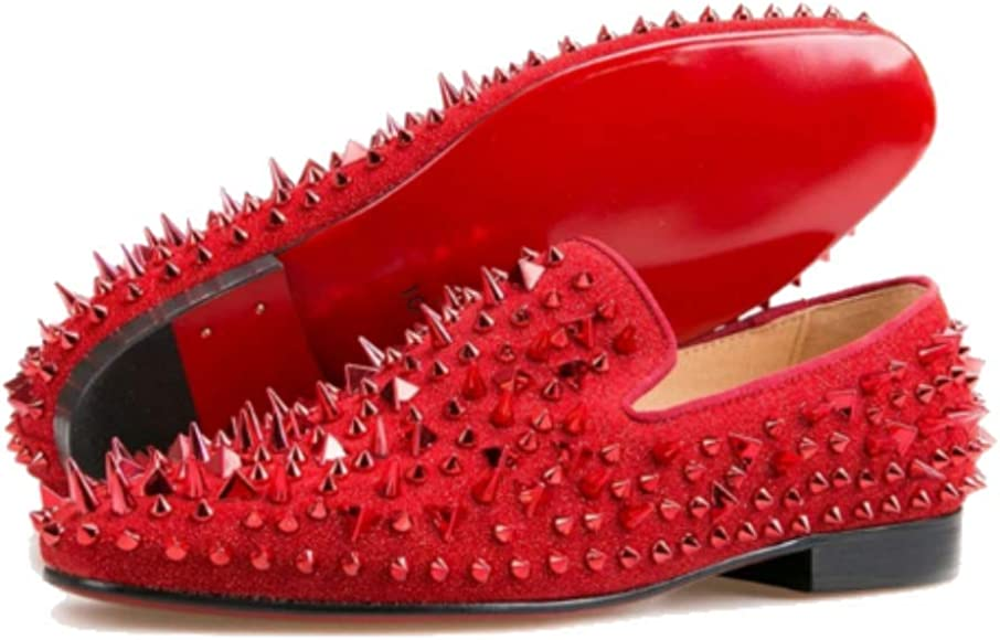 FERUCCI Men Red Velvet Slippers Loafers
