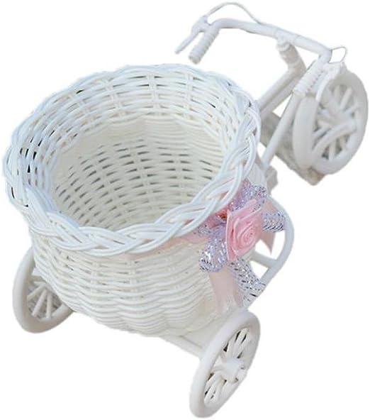 Lovely Large mimbre bicicleta cesta de flores florero de ...