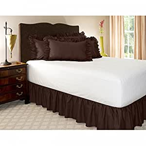 Amazon Com Harmony Lane Ruffled 18 Inch Drop Bedskirt Queen Brown Dust Ruffle With Platform