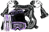purple riding gear - Adult Offroad Helmet Goggles Gloves Chest Protector GEAR COMBO Motocross Dirt Bike Purple Splatter ( Small )