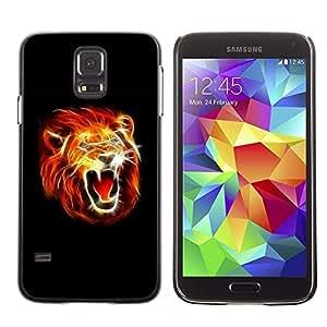 Be Good Phone Accessory // Dura Cáscara cubierta Protectora Caso Carcasa Funda de Protección para Samsung Galaxy S5 SM-G900 // Flaming Lion