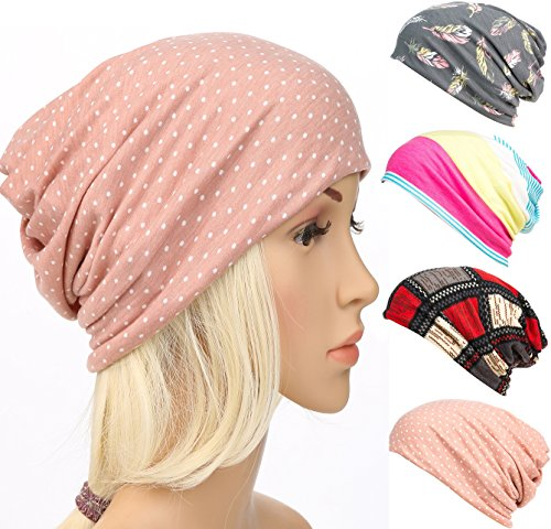 DancMolly Print Flower Head Cap Cancer Hats Beanie Stretch Casual Turbans for Women (Pink) Designed Beanie