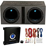 2) Planet Audio 12 1800W Subwoofers + Vented Lined Box Enclosure + Amp + Wire