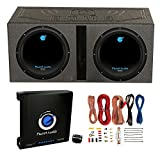 2) Planet Audio 12'' 1800W Subwoofers + Vented Lined Box Enclosure + Amp + Wire
