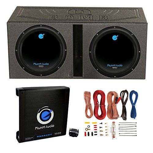 1800W Subwoofers + Vented Lined Box Enclosure + Amp + Wire ()