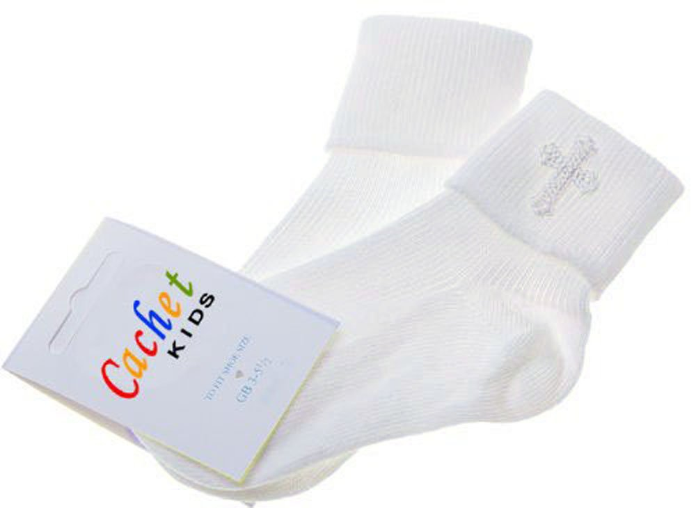 Baby boys christening socks with a cross - white - size 0-0 Cachet Kids®