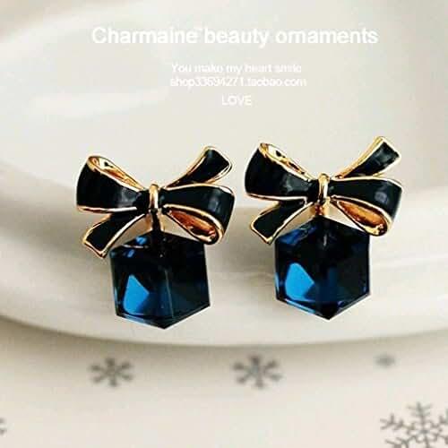 Chokushop 14 Cute Sweet Women Austrian Crystal Zircon Bow Dangle Earrings Shinny Star Temperament Earring Jewelry For Women PT31