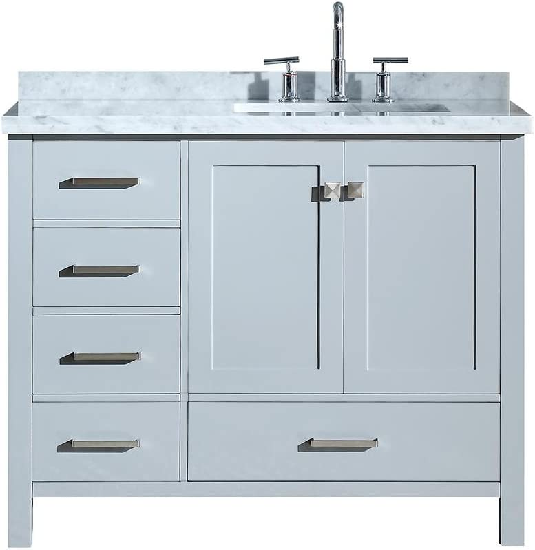 Amazon Com Ariel 43 Inch Right Offset Rectangle Sink Grey Bathroom Vanity Cabinet With Carrara White Marble Counter Top 2 Soft Closing Doors And 5 Full Extension Dovetail Drawers No Mirror Kitchen