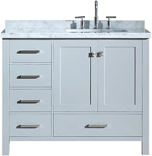 ARIEL 43″ Inch Right Offset Rectangle Sink Grey Bathroom Vanity Cabinet
