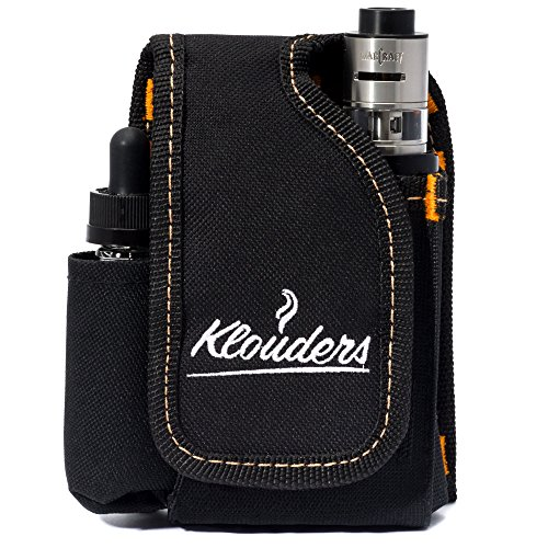 Vape Case Accessories, Vapor Pouch for Travel, Carrying Bag Holder to Carry Your Vape Box Mods Full Kit with Tank, Vaping Supplies Holster Organizer for e Juice, Battery, Black, Klouders [CASE ONLY]